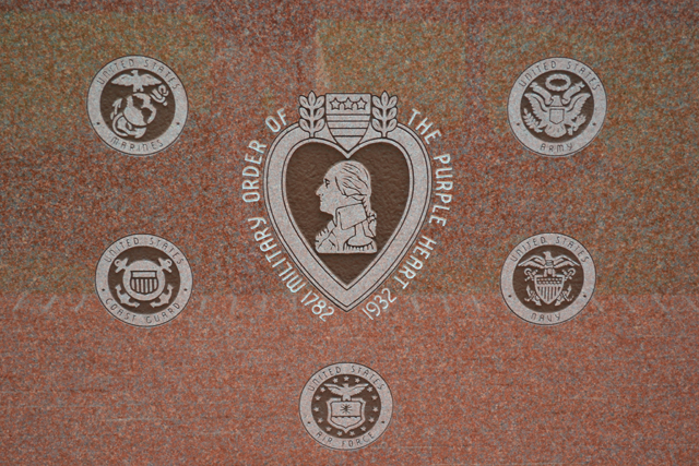 Veterans Memorial purple heart back