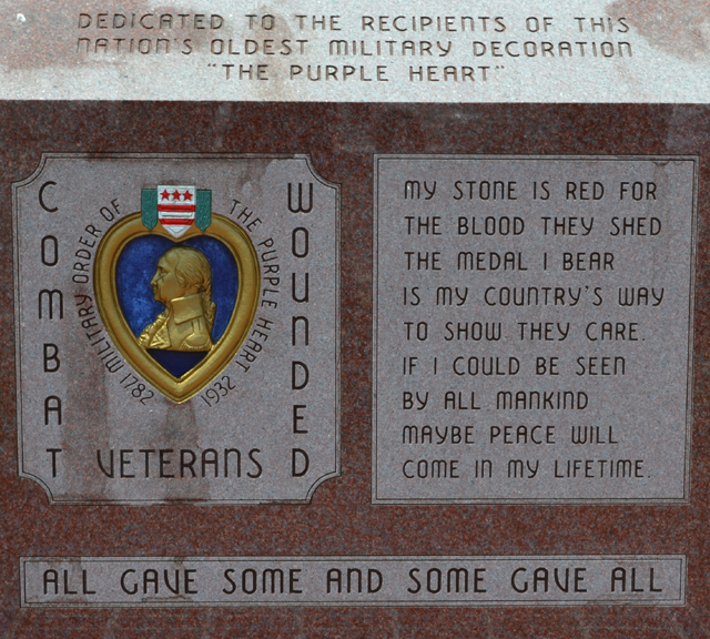 Veterans Memorial purple heart front